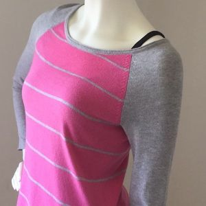 Sonoma Life + Style Pink Gray Stripes Pullover XS